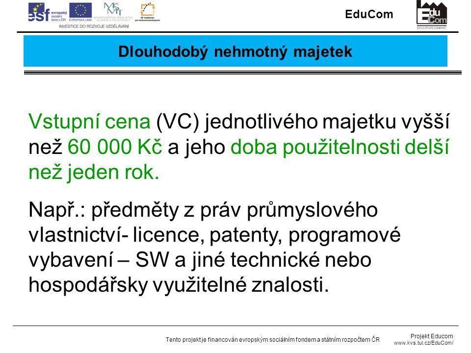 EduCom Projekt Educom www.kvs.tul.cz/EduCom/ Tento projekt je financován evropským sociálním fondem a státním rozpočtem ČR Dlouhodobý nehmotný majetek Vstupní cena (VC) jednotlivého majetku vyšší než 60 000 Kč a jeho doba použitelnosti delší než jeden rok.
