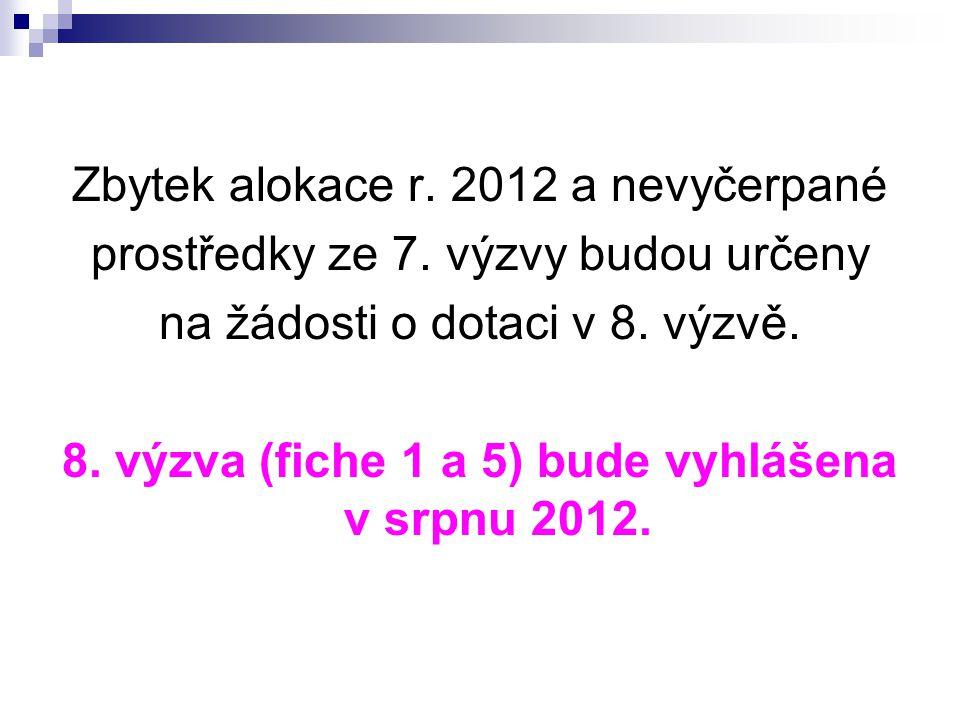 Zbytek alokace r. 2012 a nevyčerpané prostředky ze 7. výzvy budou určeny na žádosti o dotaci v 8. výzvě. 8. výzva (fiche 1 a 5) bude vyhlášena v srpnu