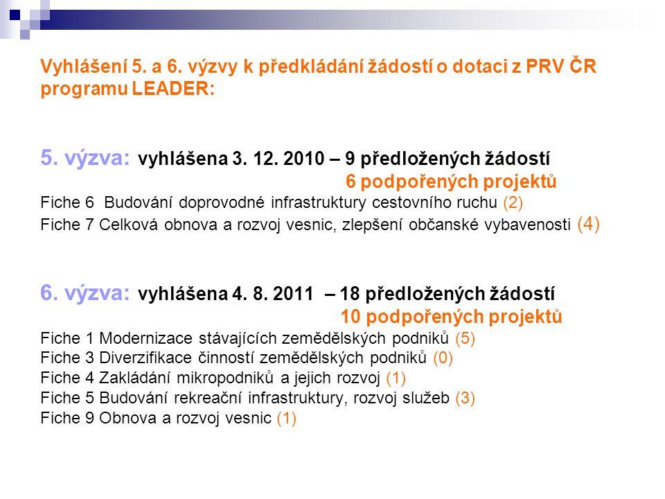 Vyhlášení 5. a 6. výzvy k předkládání žádostí o dotaci z PRV ČR programu LEADER: 5. výzva: vyhlášena 3. 12. 2010 – 9 předložených žádostí 6 podpořenýc