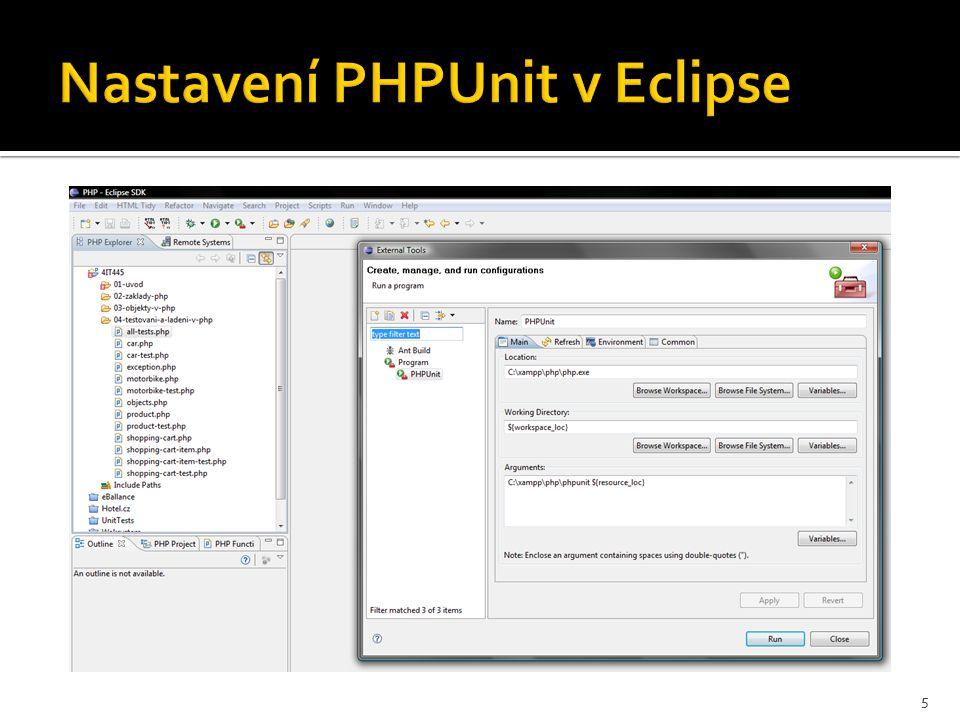 Nastavení PHPUnit v Eclipse 5