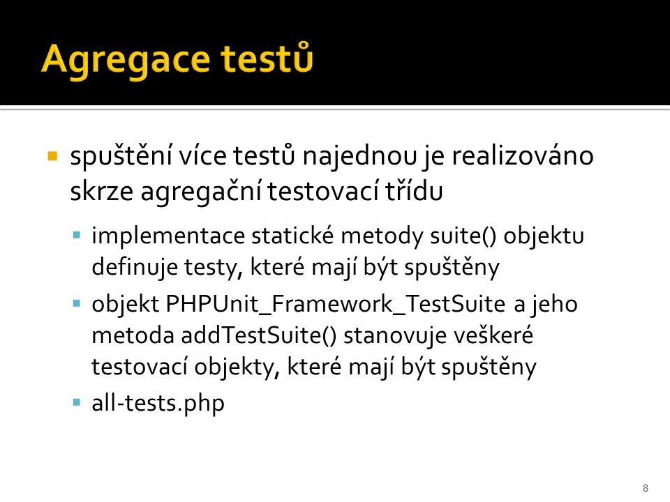 Spouštění PHPUnit  v PHP Explorer je třeba myší označit soubor testu určeného pro spuštění  nad souborem je pak třeba spustit PHPUnit konfiguraci z External Tools  po provedení testu se výsledky objeví na výpisu konzole v Eclipse 9
