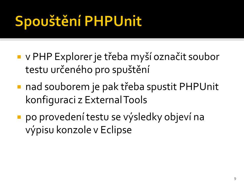 Spouštění PHPUnit 10