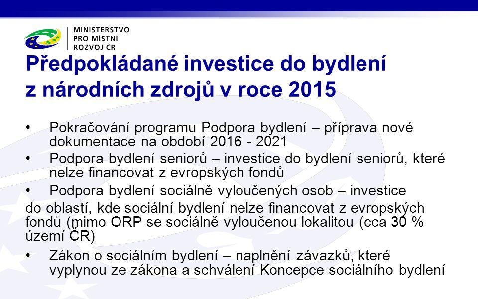 Pokračování programu Podpora bydlení – příprava nové dokumentace na období 2016 - 2021 Podpora bydlení seniorů – investice do bydlení seniorů, které n