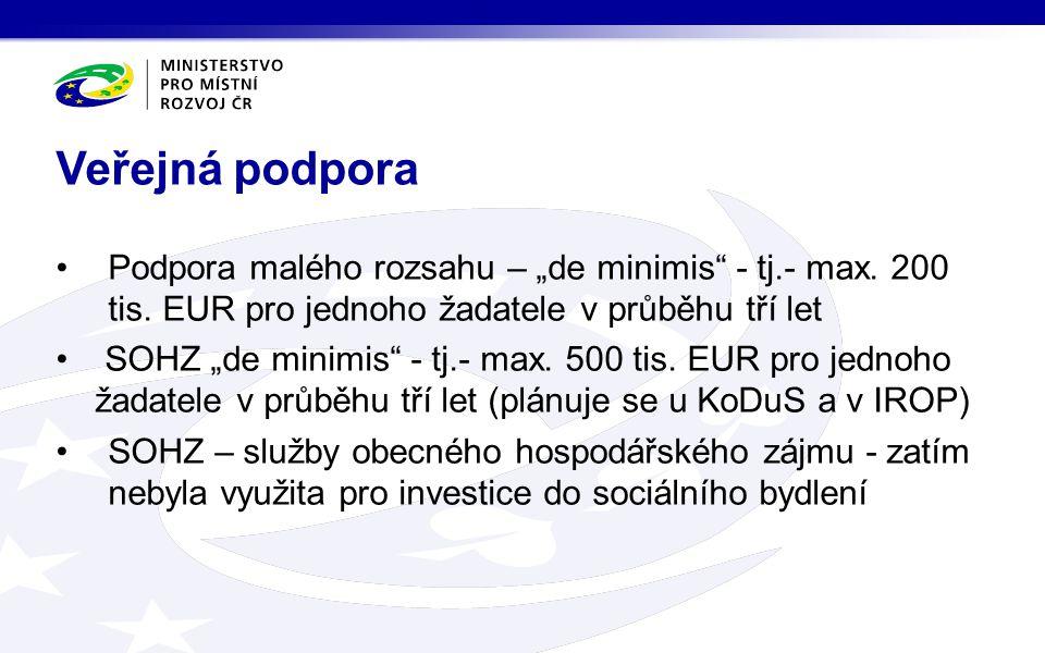 """Podpora malého rozsahu – """"de minimis"""" - tj.- max. 200 tis. EUR pro jednoho žadatele v průběhu tří let SOHZ """"de minimis"""" - tj.- max. 500 tis. EUR pro j"""