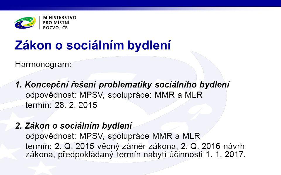 Harmonogram: 1. Koncepční řešení problematiky sociálního bydlení odpovědnost: MPSV, spolupráce: MMR a MLR termín: 28. 2. 2015 2. Zákon o sociálním byd