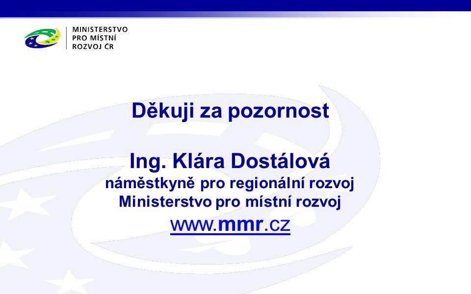 Děkuji za pozornost Ing. Klára Dostálová náměstkyně pro regionální rozvoj Ministerstvo pro místní rozvoj www.mmr.cz www.mmr.cz