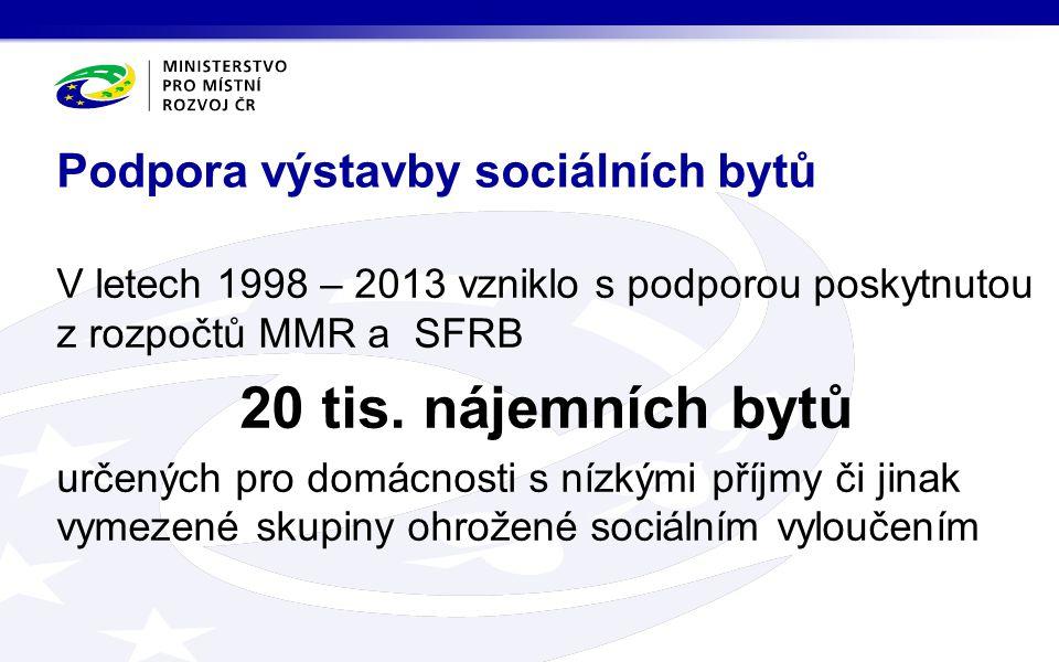 V letech 1998 – 2013 vzniklo s podporou poskytnutou z rozpočtů MMR a SFRB 20 tis. nájemních bytů určených pro domácnosti s nízkými příjmy či jinak vym