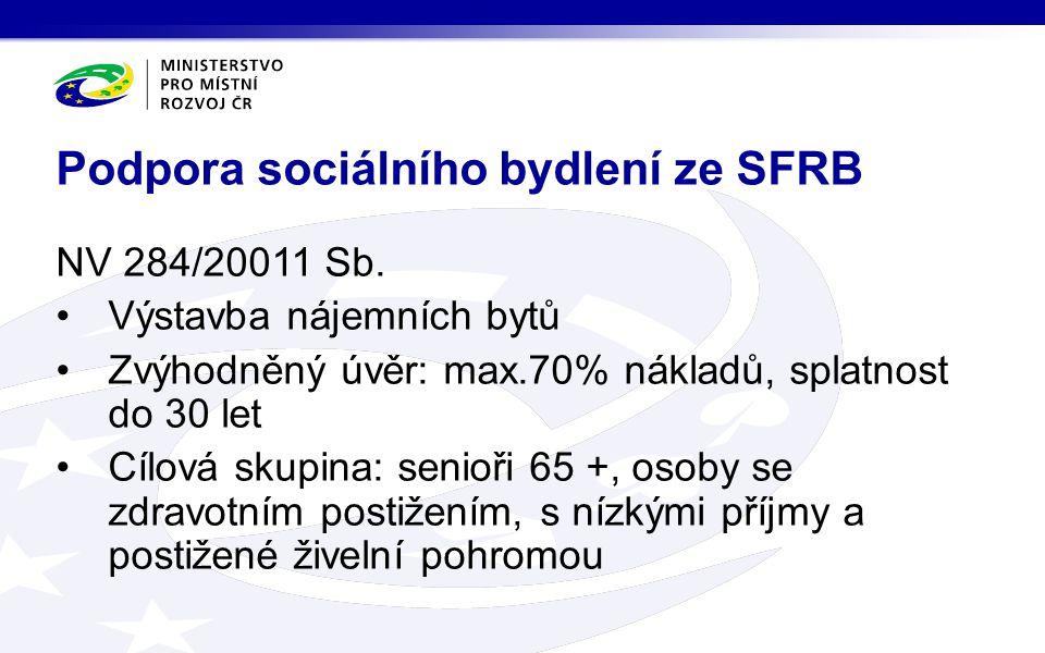 NV 284/20011 Sb. Výstavba nájemních bytů Zvýhodněný úvěr: max.70% nákladů, splatnost do 30 let Cílová skupina: senioři 65 +, osoby se zdravotním posti