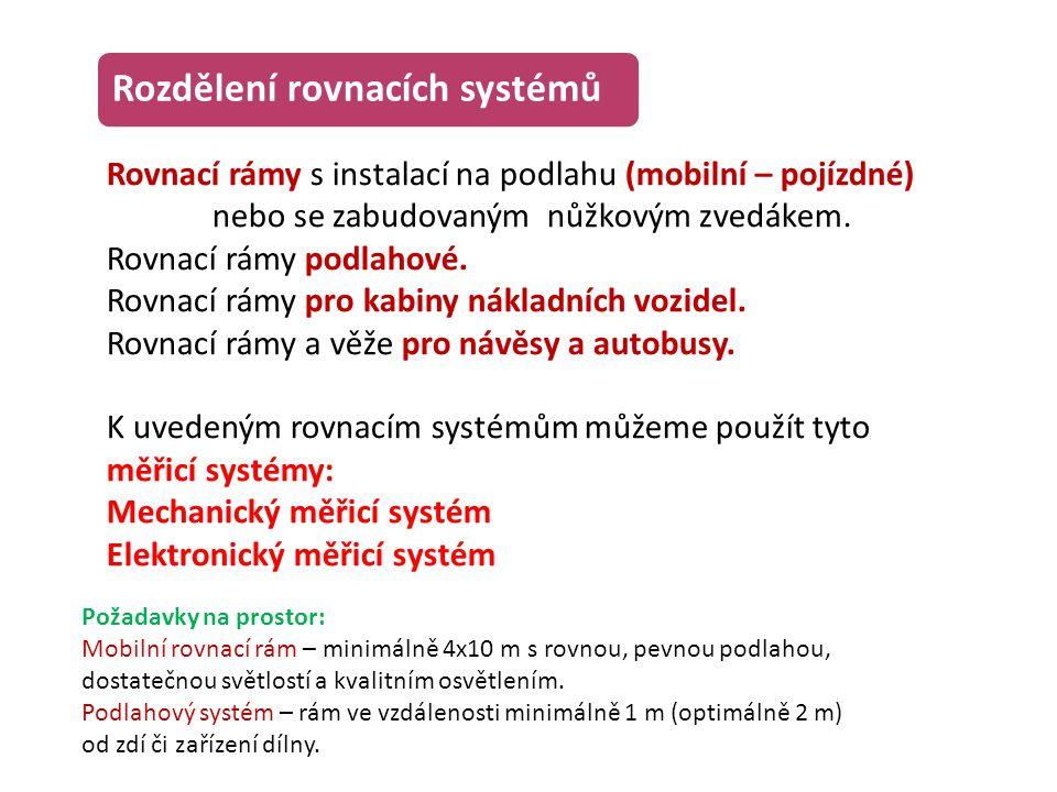 Rozdělení rovnacích systémů Rovnací rámy s instalací na podlahu (mobilní – pojízdné) nebo se zabudovaným nůžkovým zvedákem. Rovnací rámy podlahové. Ro
