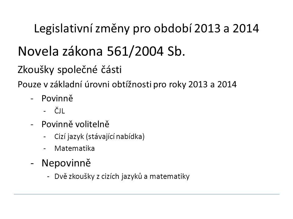 Legislativní změny pro období 2013 a 2014 Novela zákona 561/2004 Sb. Zkoušky společné části Pouze v základní úrovni obtížnosti pro roky 2013 a 2014 -P