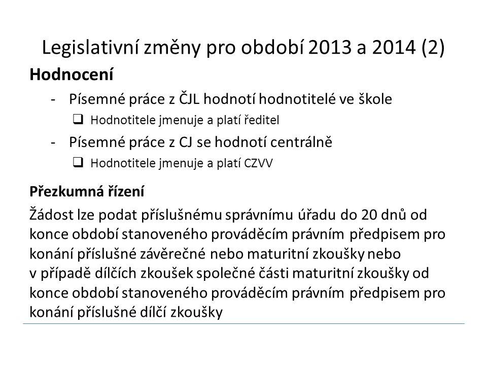Legislativní změny pro období 2013 a 2014 (2) Hodnocení -Písemné práce z ČJL hodnotí hodnotitelé ve škole  Hodnotitele jmenuje a platí ředitel -Písem