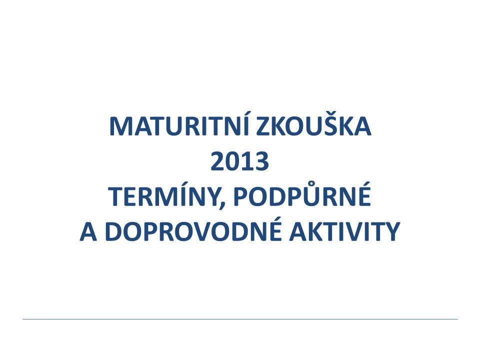 MATURITNÍ ZKOUŠKA 2013 TERMÍNY, PODPŮRNÉ A DOPROVODNÉ AKTIVITY