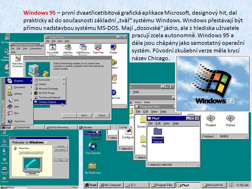 """Windows 95 – první dvaatřicetibitová grafická aplikace Microsoft, designový hit, dal prakticky až do současnosti základní """"tvář"""" systému Windows. Wind"""