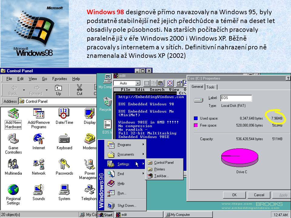 Windows 98 designově přímo navazovaly na Windows 95, byly podstatně stabilnější než jejich předchůdce a téměř na deset let obsadily pole působnosti. N