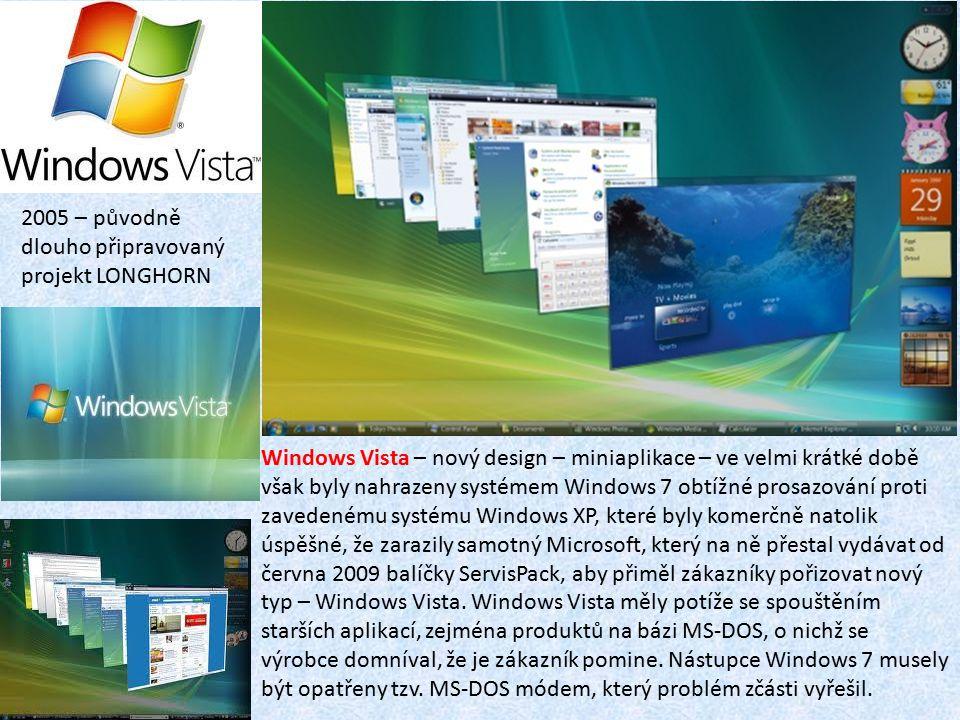 Windows Vista – nový design – miniaplikace – ve velmi krátké době však byly nahrazeny systémem Windows 7 obtížné prosazování proti zavedenému systému Windows XP, které byly komerčně natolik úspěšné, že zarazily samotný Microsoft, který na ně přestal vydávat od června 2009 balíčky ServisPack, aby přiměl zákazníky pořizovat nový typ – Windows Vista.