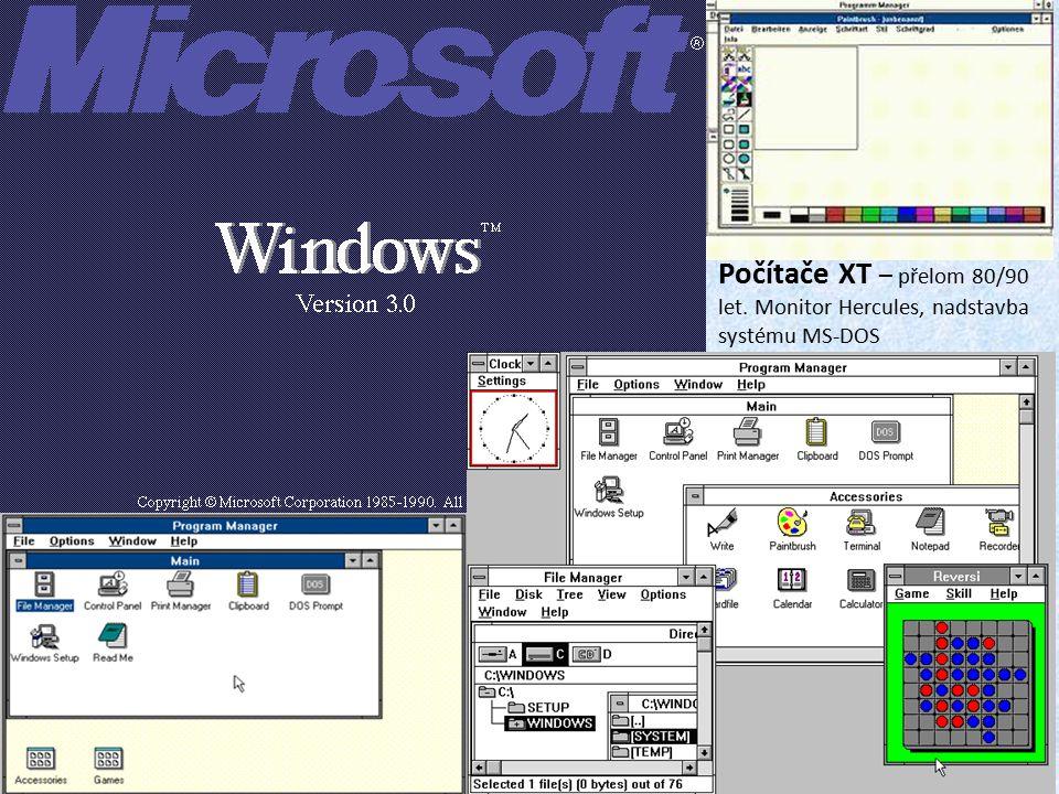 Počítače XT – přelom 80/90 let. Monitor Hercules, nadstavba systému MS-DOS