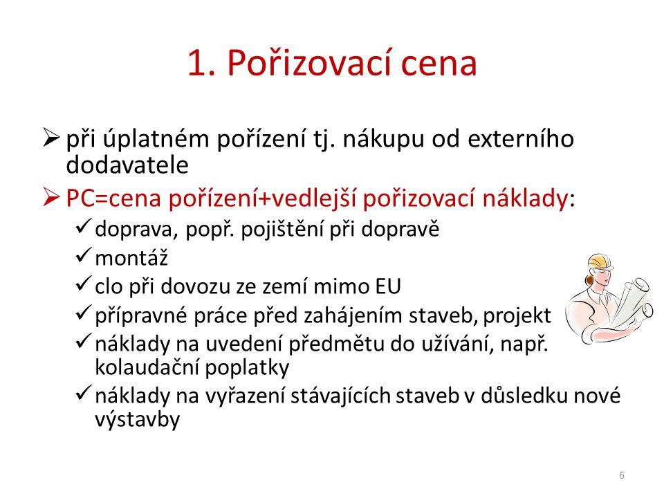 1. Pořizovací cena  při úplatném pořízení tj.