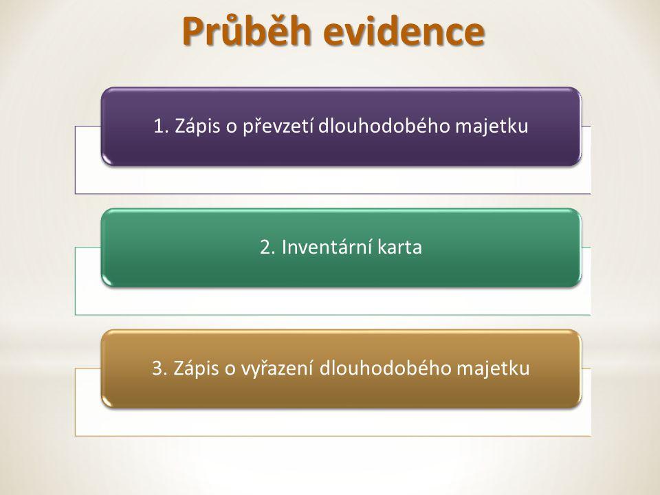 Průběh evidence 1. Zápis o převzetí dlouhodobého majetku2.