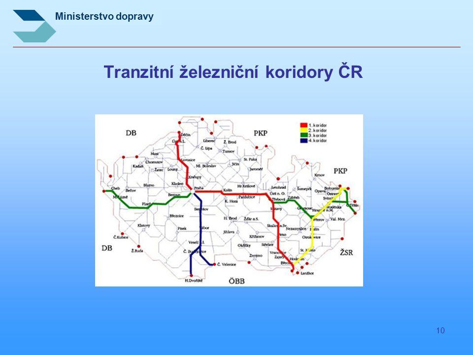 Ministerstvo dopravy 10 Tranzitní železniční koridory ČR