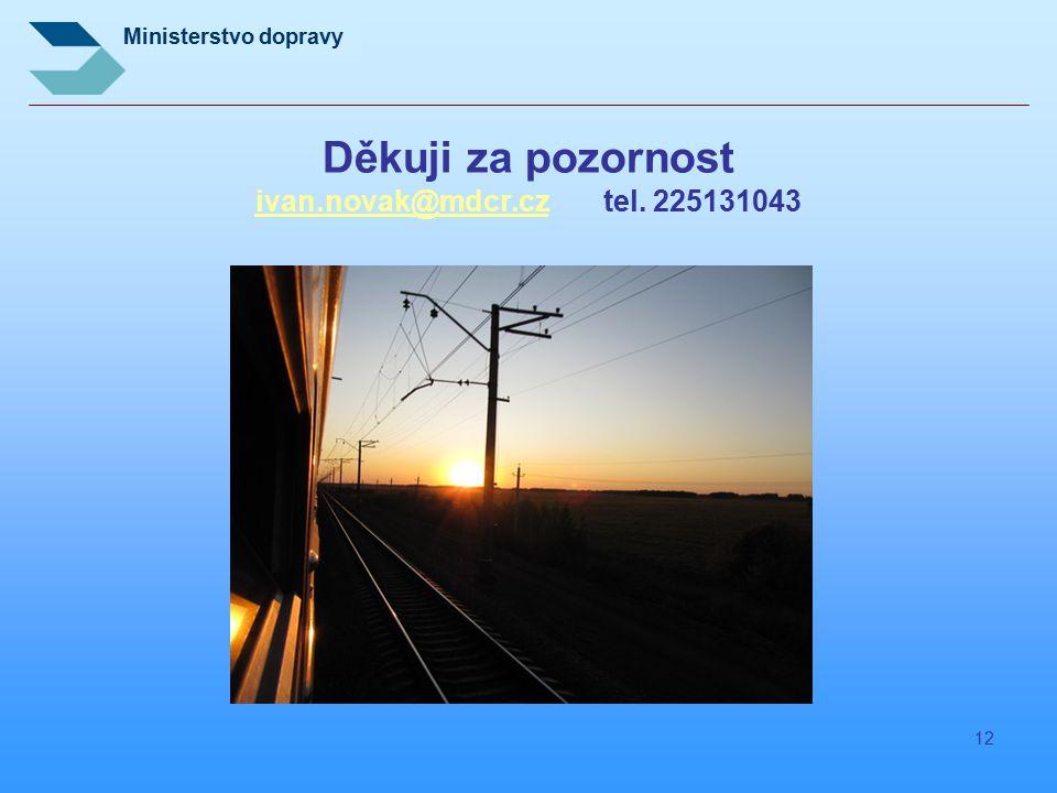 Ministerstvo dopravy 12 Děkuji za pozornost ivan.novak@mdcr.cz tel. 225131043 ivan.novak@mdcr.cz