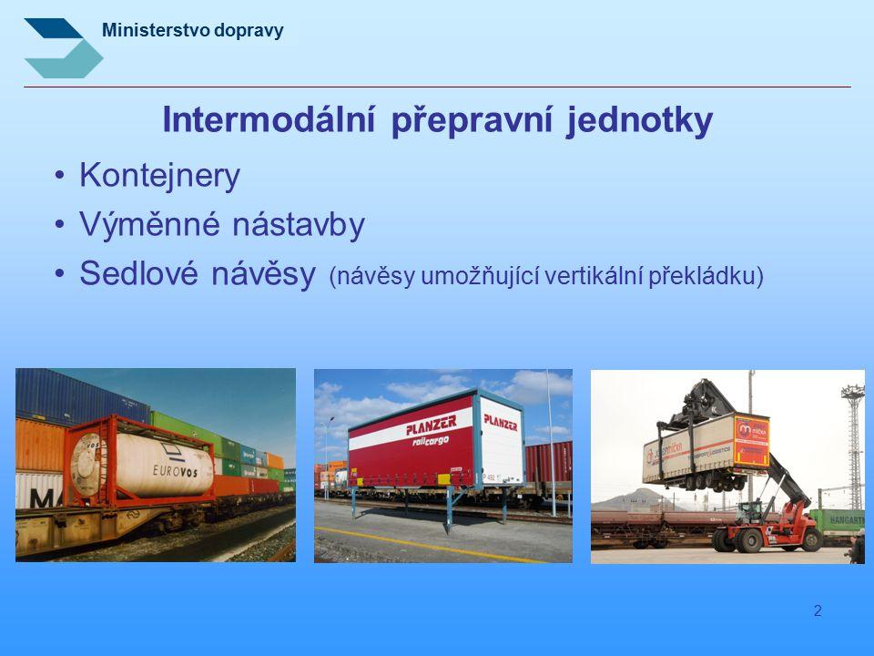 Ministerstvo dopravy 2 Intermodální přepravní jednotky Kontejnery Výměnné nástavby Sedlové návěsy (návěsy umožňující vertikální překládku)
