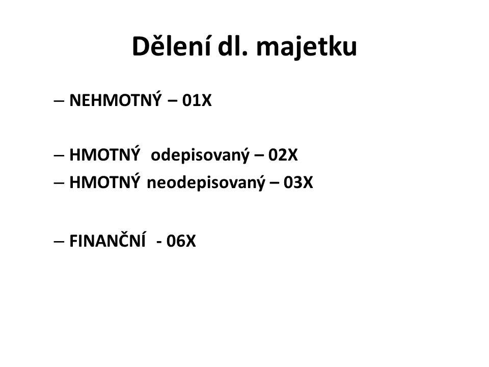Dělení dl. majetku – NEHMOTNÝ – 01X – HMOTNÝ odepisovaný – 02X – HMOTNÝ neodepisovaný – 03X – FINANČNÍ - 06X