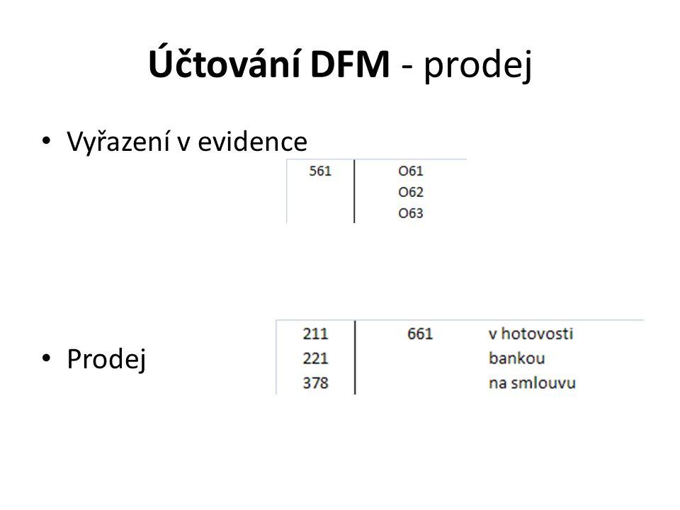 Účtování DFM - prodej Vyřazení v evidence Prodej