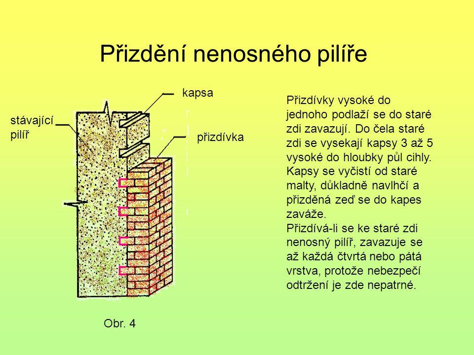 Přizdění nenosného pilíře Obr. 4 stávající pilíř kapsa přizdívka Přizdívky vysoké do jednoho podlaží se do staré zdi zavazují. Do čela staré zdi se vy