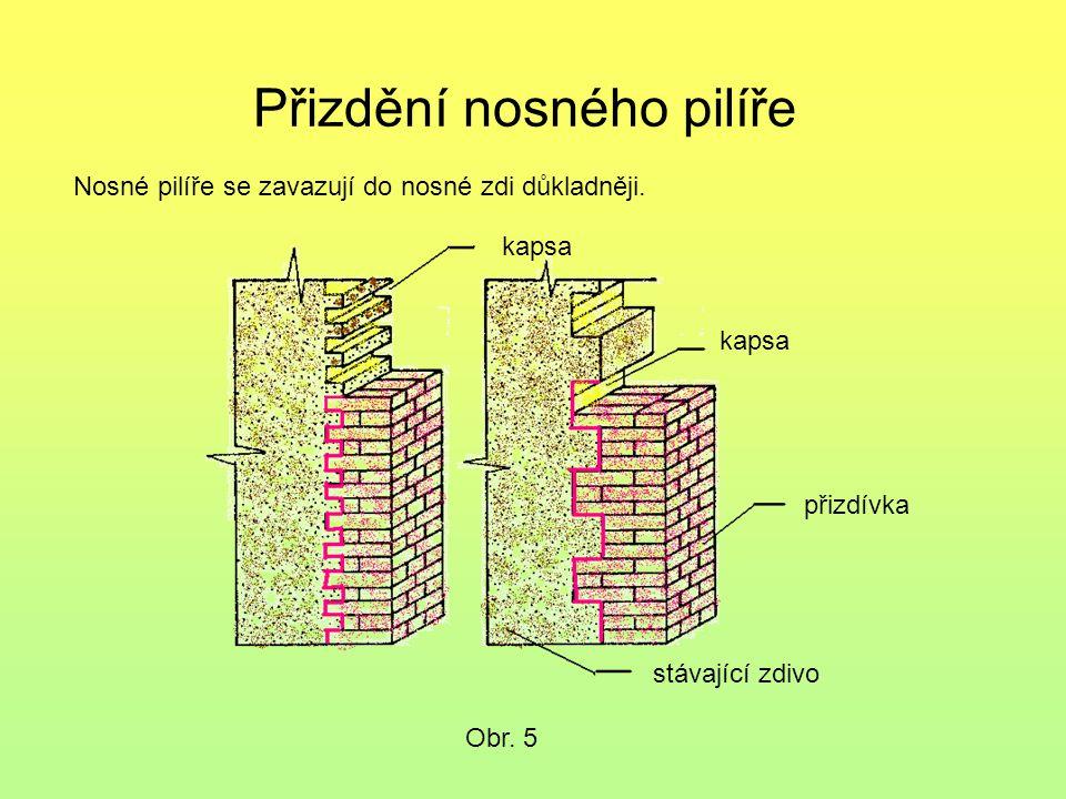 Přizdění nosného pilíře Obr. 5 Nosné pilíře se zavazují do nosné zdi důkladněji. kapsa přizdívka stávající zdivo