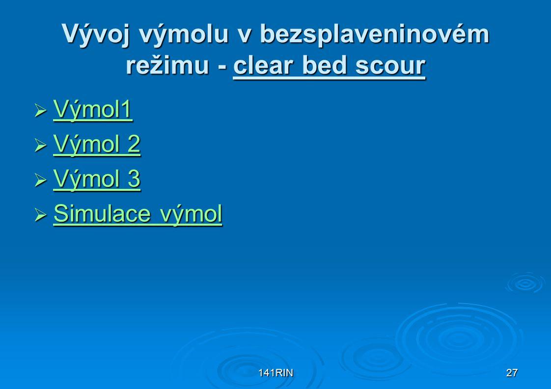 141RIN27 Vývoj výmolu v bezsplaveninovém režimu - clear bed scour  Výmol1 Výmol1  Výmol 2 Výmol 2 Výmol 2  Výmol 3 Výmol 3 Výmol 3  Simulace výmol