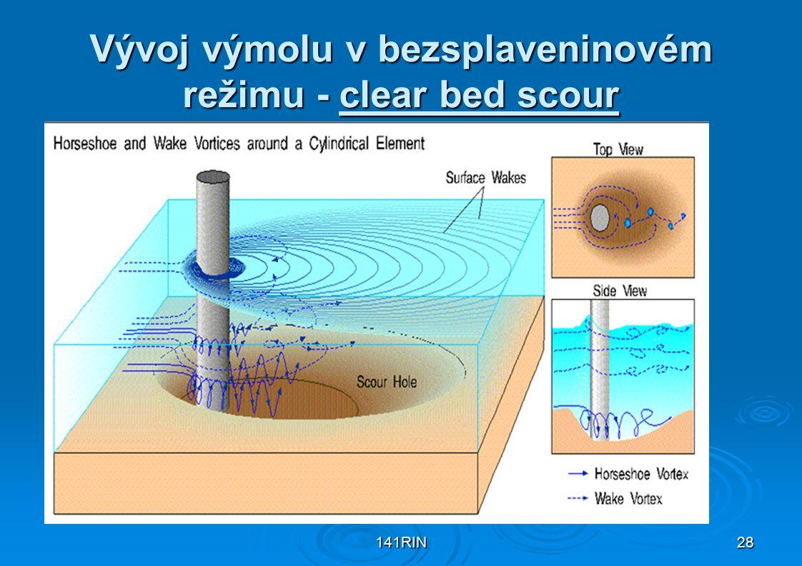 141RIN28 Vývoj výmolu v bezsplaveninovém režimu - clear bed scour