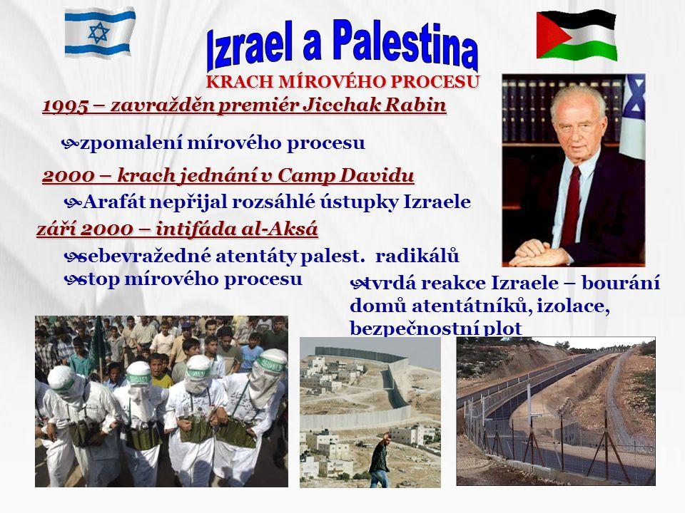 KRACH MÍROVÉHO PROCESU 1995 – zavražděn premiér Jicchak Rabin  zpomalení mírového procesu 2000 – krach jednání v Camp Davidu září 2000 – intifáda al-