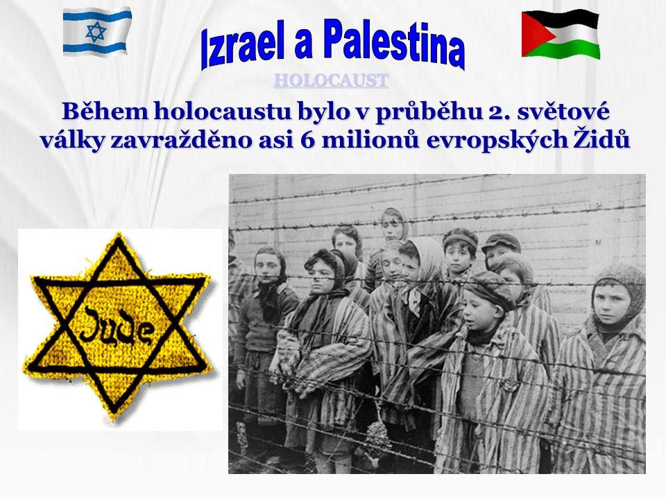 HOLOCAUST Během holocaustu bylo v průběhu 2. světové války zavražděno asi 6 milionů evropských Židů