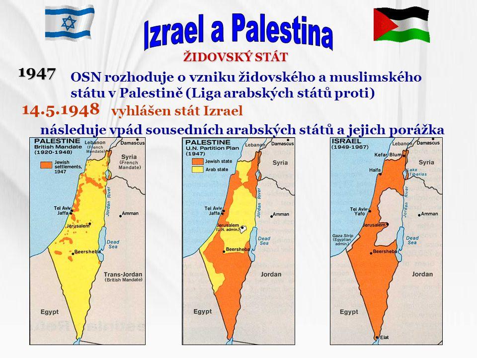ŽIDOVSKÝ STÁT OSN rozhoduje o vzniku židovského a muslimského státu v Palestině (Liga arabských států proti) 1947 14.5.1948 vyhlášen stát Izrael násle