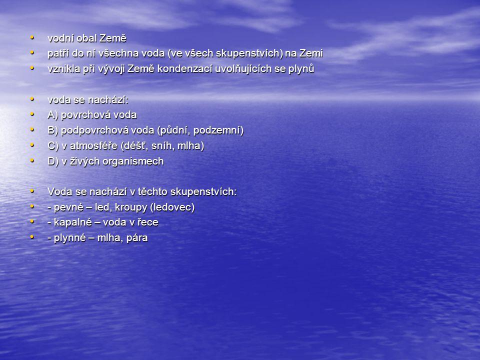 vodní obal Země vodní obal Země patří do ní všechna voda (ve všech skupenstvích) na Zemi patří do ní všechna voda (ve všech skupenstvích) na Zemi vznikla při vývoji Země kondenzací uvolňujících se plynů vznikla při vývoji Země kondenzací uvolňujících se plynů voda se nachází: voda se nachází: A) povrchová voda A) povrchová voda B) podpovrchová voda (půdní, podzemní) B) podpovrchová voda (půdní, podzemní) C) v atmosféře (déšť, sníh, mlha) C) v atmosféře (déšť, sníh, mlha) D) v živých organismech D) v živých organismech Voda se nachází v těchto skupenstvích: Voda se nachází v těchto skupenstvích: - pevné – led, kroupy (ledovec) - pevné – led, kroupy (ledovec) - kapalné – voda v řece - kapalné – voda v řece - plynné – mlha, pára - plynné – mlha, pára
