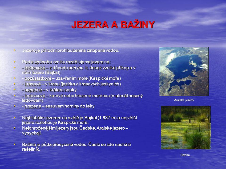 JEZERA A BAŽINY Jezero je přírodní prohloubenina zatopená vodou.