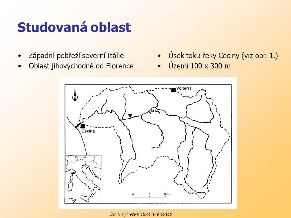 Studovaná oblast Západní pobřeží severní Itálie Oblast jihovýchodně od Florence Úsek toku řeky Ceciny (viz obr.