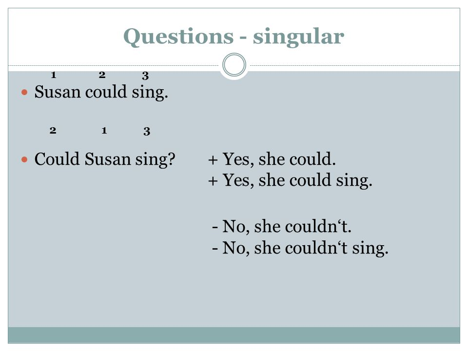 Questions - singular Susan could sing. Could Susan sing?+ Yes, she could.
