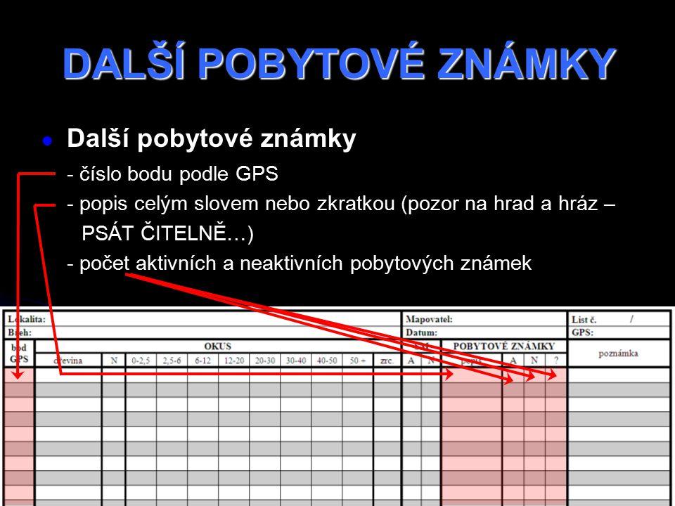 DALŠÍ POBYTOVÉ ZNÁMKY Další pobytové známky - číslo bodu podle GPS - popis celým slovem nebo zkratkou (pozor na hrad a hráz – PSÁT ČITELNĚ…) - počet aktivních a neaktivních pobytových známek