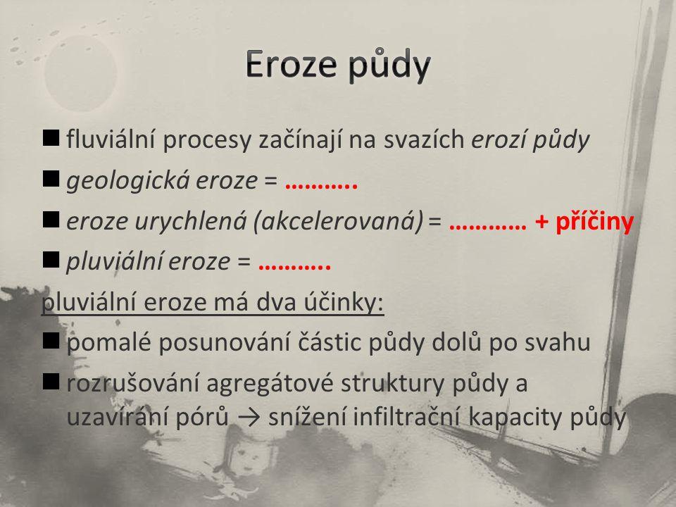 fluviální procesy začínají na svazích erozí půdy geologická eroze = ……….. eroze urychlená (akcelerovaná) = ………… + příčiny pluviální eroze = ……….. pluv