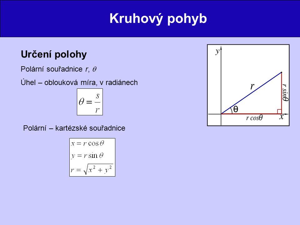 Kruhový pohyb Určení polohy Polární souřadnice r,  Úhel – oblouková míra, v radiánech Polární – kartézské souřadnice