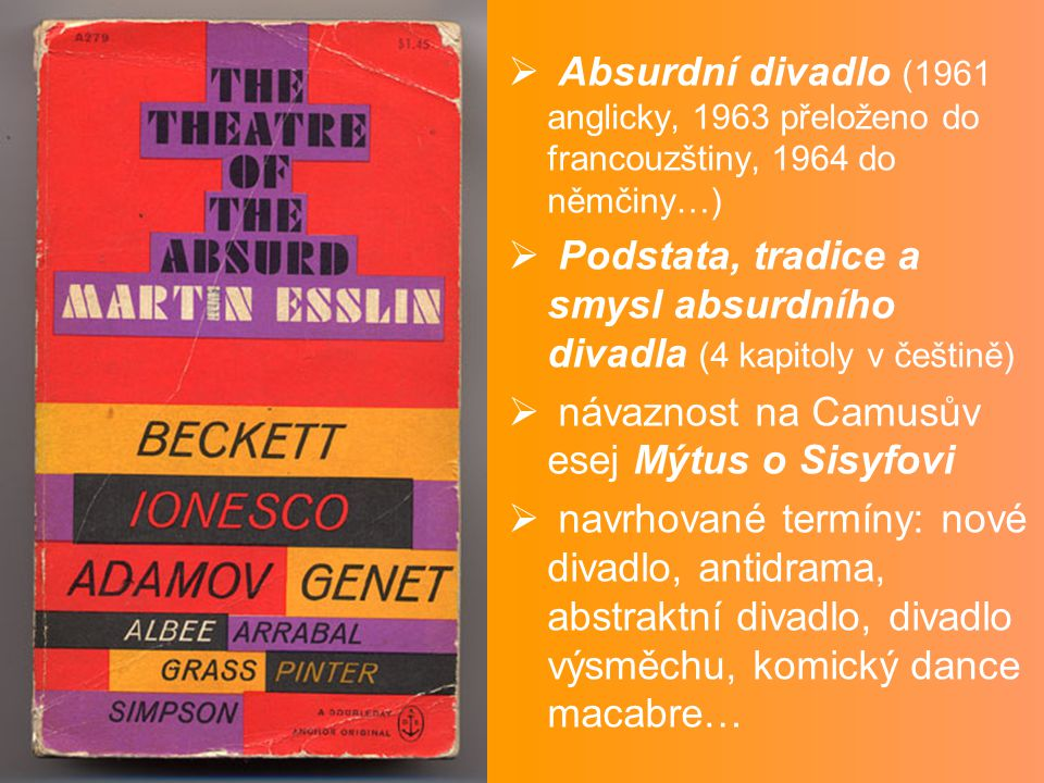  Absurdní divadlo (1961 anglicky, 1963 přeloženo do francouzštiny, 1964 do němčiny…)  Podstata, tradice a smysl absurdního divadla (4 kapitoly v češ