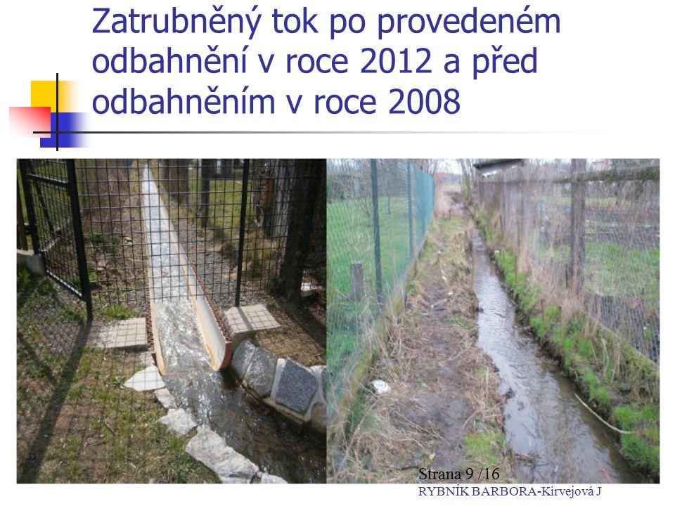 Zatrubněný tok po provedeném odbahnění v roce 2012 a před odbahněním v roce 2008 Strana 9 /16 RYBNÍK BARBORA-Kirvejová J