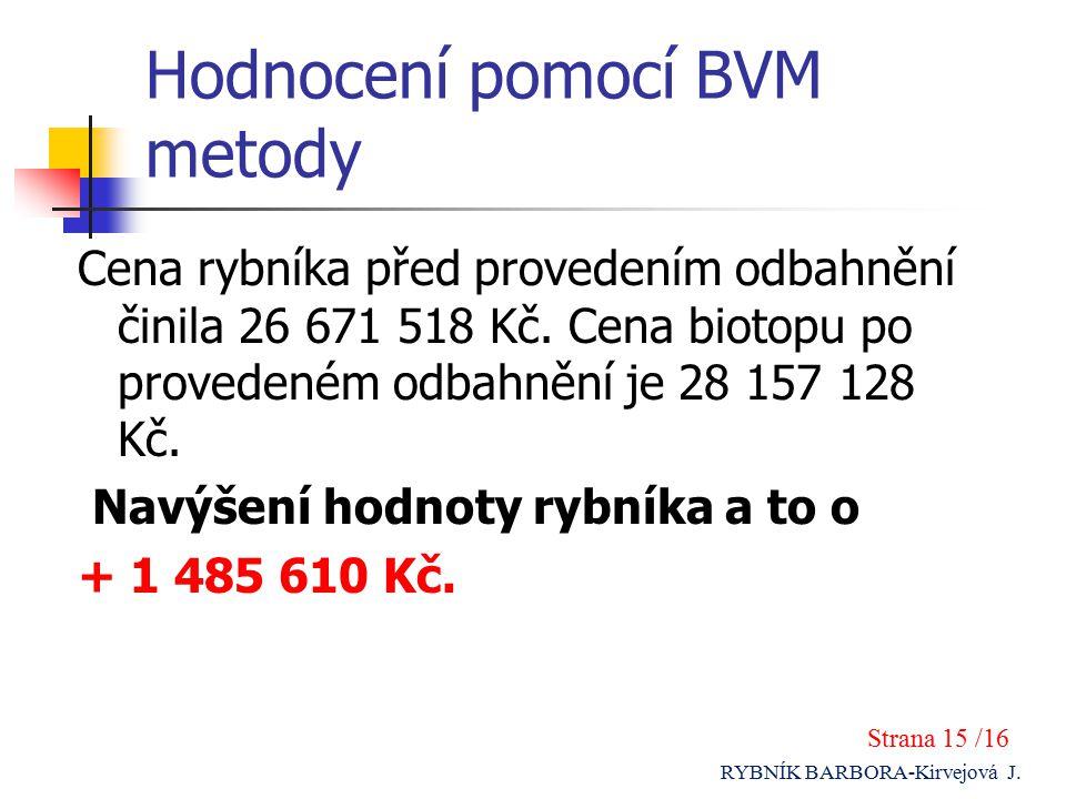 Hodnocení pomocí BVM metody Cena rybníka před provedením odbahnění činila 26 671 518 Kč.