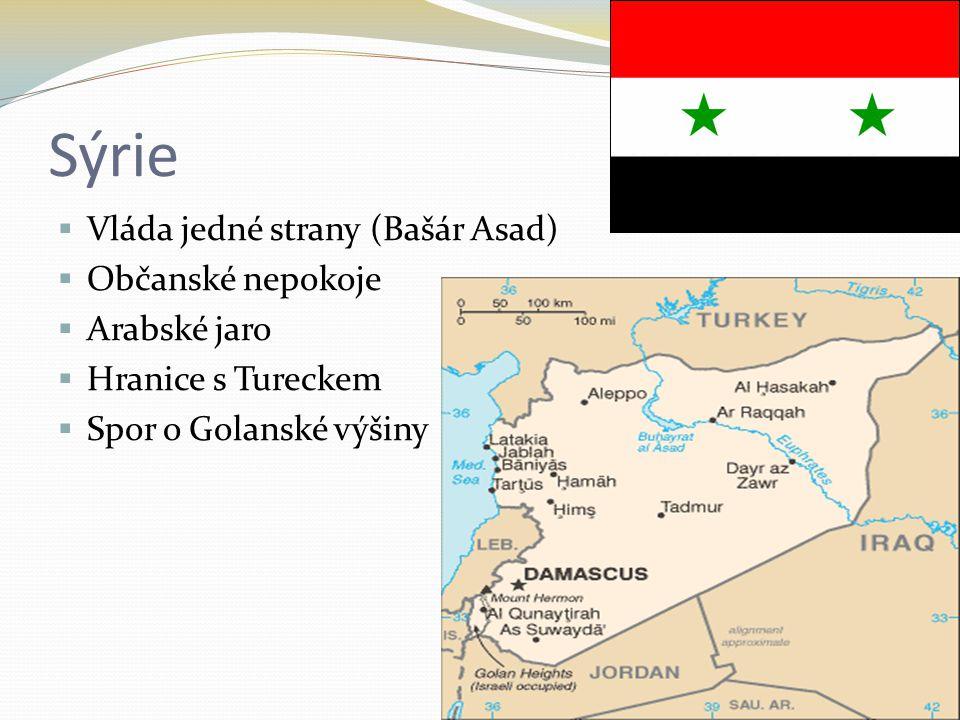Sýrie  Vláda jedné strany (Bašár Asad)  Občanské nepokoje  Arabské jaro  Hranice s Tureckem  Spor o Golanské výšiny