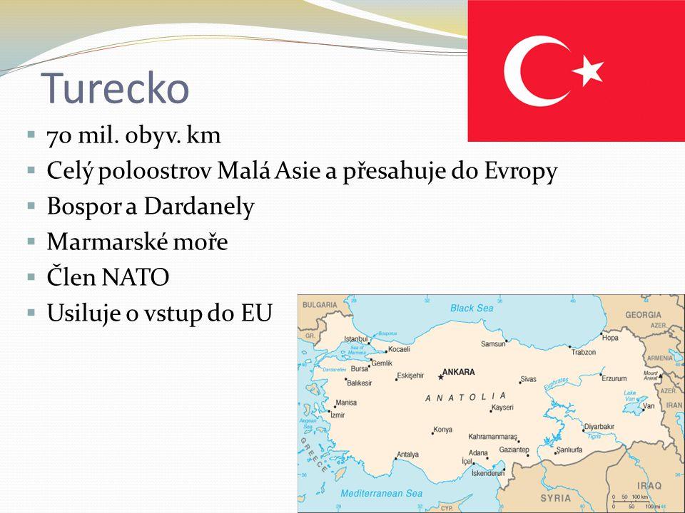 Turecko  70 mil. obyv. km  Celý poloostrov Malá Asie a přesahuje do Evropy  Bospor a Dardanely  Marmarské moře  Člen NATO  Usiluje o vstup do EU