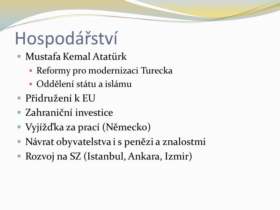 Hospodářství  Mustafa Kemal Atatürk  Reformy pro modernizaci Turecka  Oddělení státu a islámu  Přidružení k EU  Zahraniční investice  Vyjížďka za prací (Německo)  Návrat obyvatelstva i s penězi a znalostmi  Rozvoj na SZ (Istanbul, Ankara, Izmir)