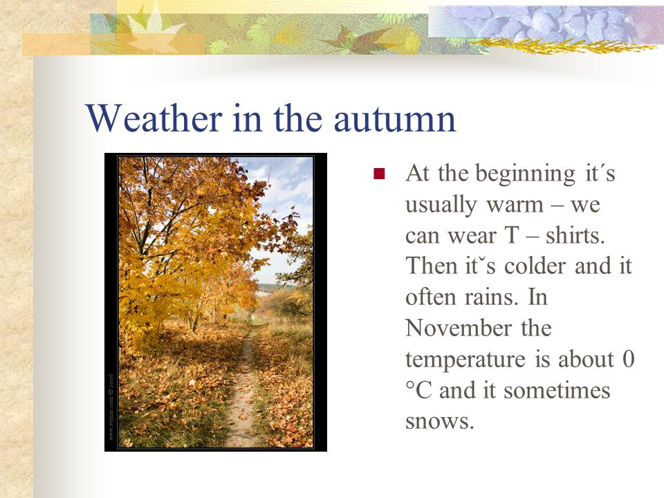 Weather in the autumn At the beginning it´s usually warm – we can wear T – shirts.