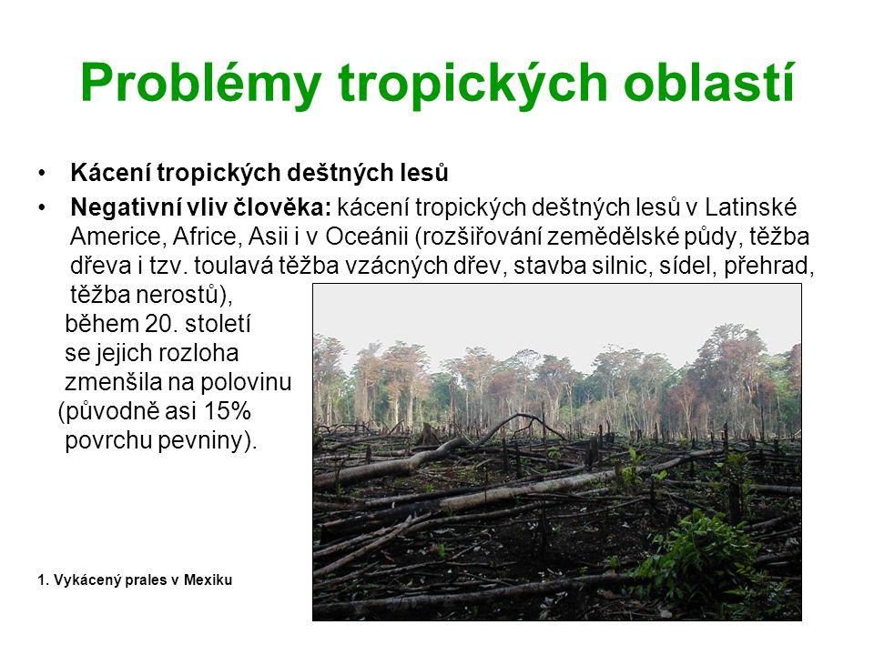Problémy tropických oblastí Kácení tropických deštných lesů Negativní vliv člověka: kácení tropických deštných lesů v Latinské Americe, Africe, Asii i