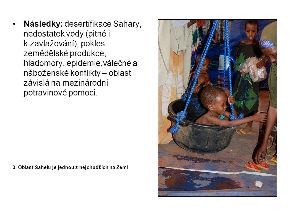 Následky: desertifikace Sahary, nedostatek vody (pitné i k zavlažování), pokles zemědělské produkce, hladomory, epidemie,válečné a náboženské konflikt